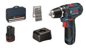 Bosch - Bore-/skruemaskine GSR12V-15 2X2AH 25XTB taske