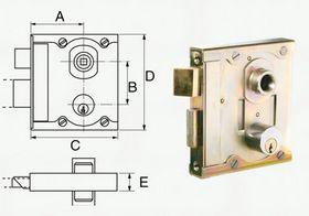 Assa Abloy - Gitterportlås 5908 med cylinder