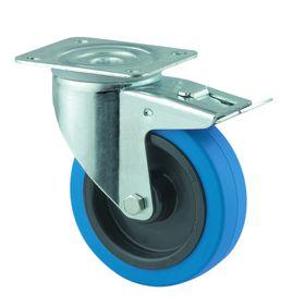 Tente - Hjul drejelig m/plade og bremse fzb/gummi blå Ø100mm