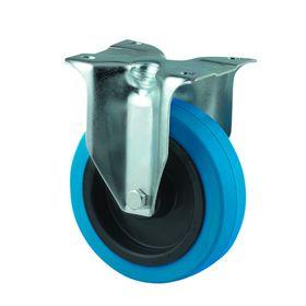 Tente - Hjul fast m/plade fzb/gummi blå Ø100mm