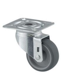 Tente - Hjul drejelig m/plade fzb/gummi Ø50mm