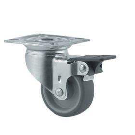 Tente - Hjul drejelig m/plade og bremse fzb/gummi Ø50mm
