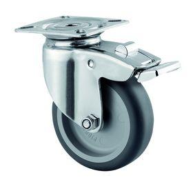 Tente - Hjul drejelig m/plade og bremse RS/gummi Ø75mm