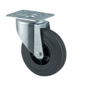 Tente - Hjul drejelig m/plade fzb/gummi massiv Ø80mm