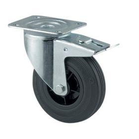 Tente - Hjul drejelig m/plade og bremse fzb/gummi Ø80mm