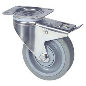 Tente - Hjul drejelig m/plade og bremse RS/gummi Ø125mm