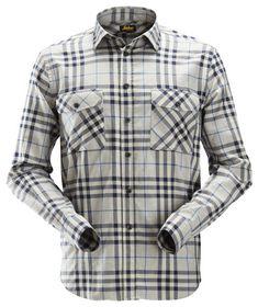Snickers - Skjorte Flannel 8516 Ternet Askegrå/navy Str. XS