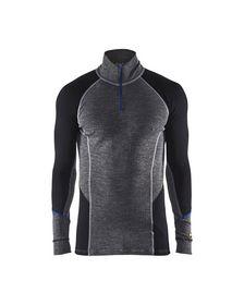 Blåkläder - Undertrøje m/lynlås 48991732 Warm Mellemgrå/Sort Str. XS